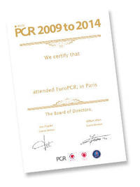 Certificate of attendance from 2009 to 2014 editions