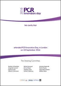 Certificate PCR Innovators Day London 2016