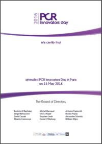 Certificate PCR Innovators Day Paris 2016