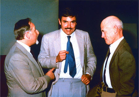 Eberhard Zeitler, Andreas Grüntzig and Charles Dotter at the Angiology Society Meeting in Köln 1975