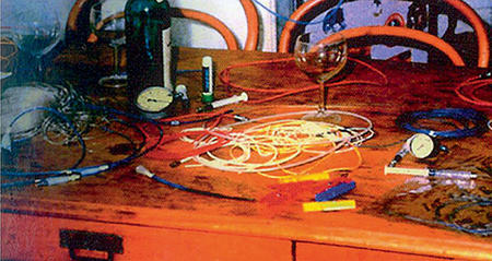 The kitchen table where Andreas Gruentzig designed and prepared the first balloons at home!