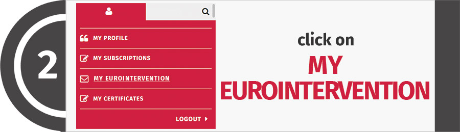 Step 2 - Click on MY EUROINTERVENTION in the red menu