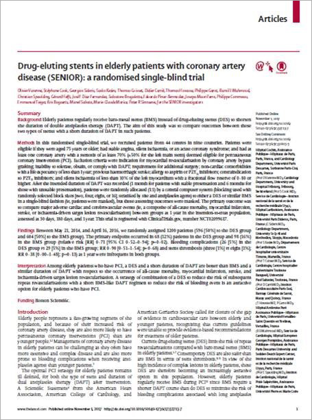 Biodegradable polymer Everolimus-eluting SYNERGY stents in elderly patients with coronary artery disease (SENIOR): a randomised single-blind trial